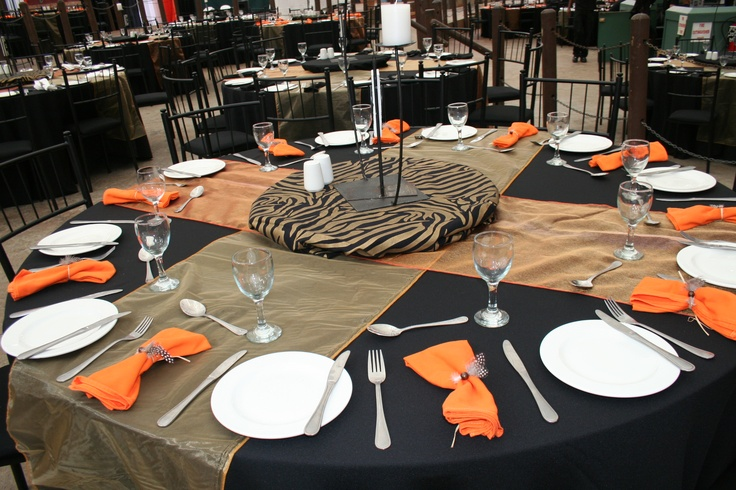 Table set up with an African theme.