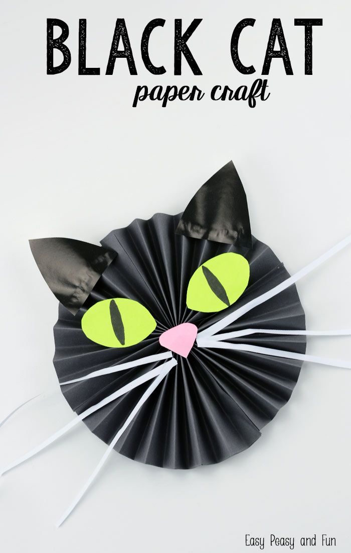black cat paper craft paper crafts kidshalloween - Halloween Arts And Crafts For Kids Pinterest