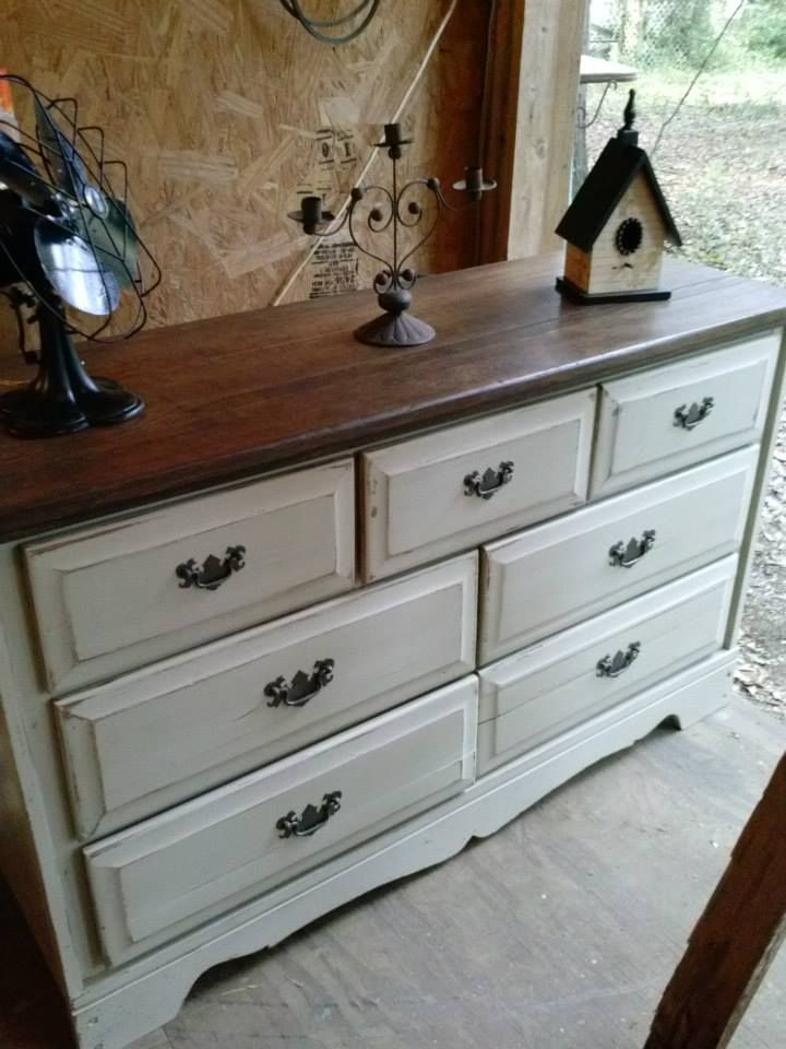 Light Tan Dresser With Dark Stained Top Restor