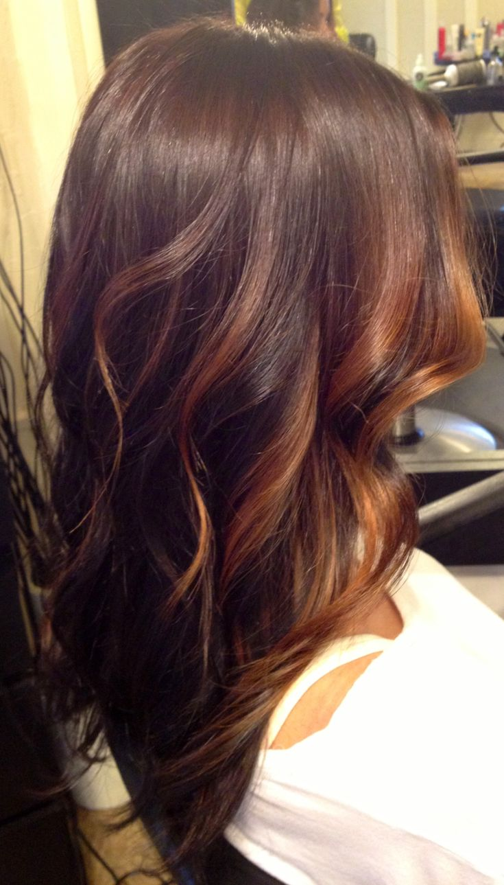 Brunette and Caramel face framing Balayage highlights over long layered curly hair.