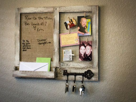Message Center with Marker Board, Key Hooks, Mail Slot, and Chicken Wire.