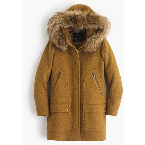 J.Crew Petite Chateau Parka ($475) ❤ liked on Polyvore featuring outerwear, coats, petite, brown coat, hooded parka coat, faux fur trim hooded coat, lined parka coat and hooded parka