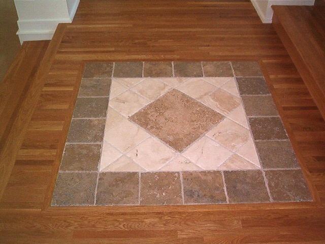 Tile Inset Into Oak Hardwood Our Hardwood Work