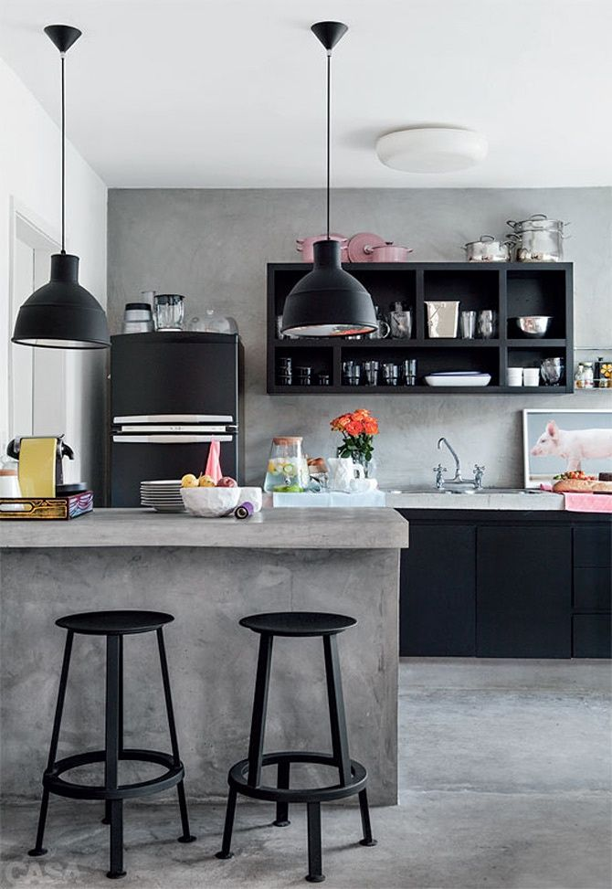 #Gray paint compliments the bold #black furniture and #cabinetry