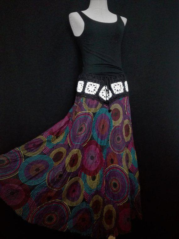 b707c46c09 Hippie Maxi Skirt bohemian Festival Boho skirt Gypsy skirt tribal Vegan  style Unique handmade gift Women Crochet lace skirt festival skirt