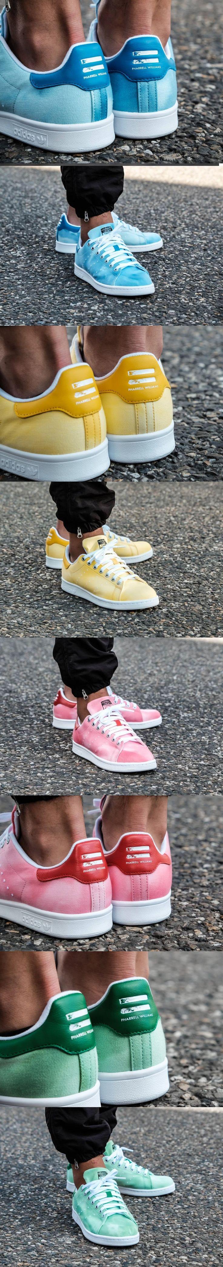 #Pharrell #Williams x #Adidas #Stan #Smith HU #Holi #Blue #yellow #pink #green
