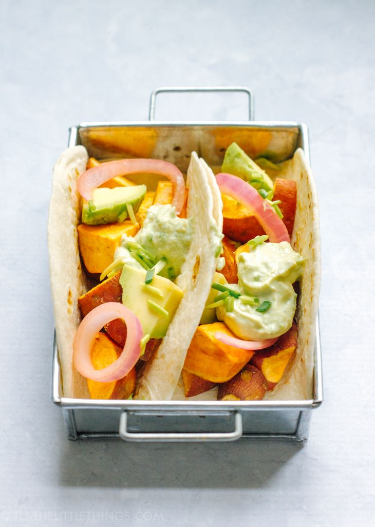 TLT - The Little Things | Sweet Potato Tacos with Avocado and Red Onion | http://tlt-thelittlethings.com/