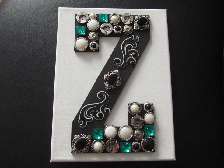 Monogram wooden letter with buttons on canvas wall art for Wooden letters on canvas