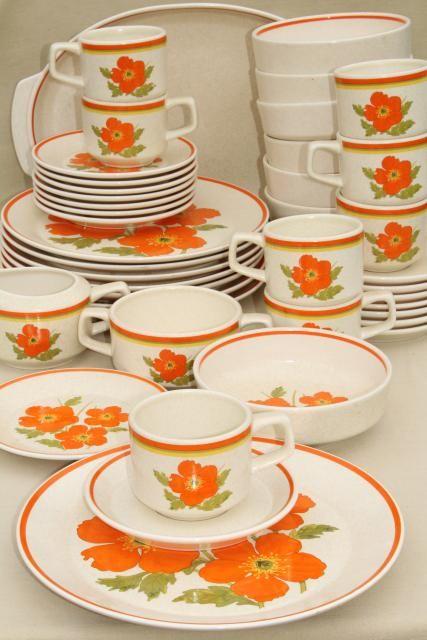 vintage Lenox stoneware dinnerware set, fire flower mod orange flowers, 60s Vera style