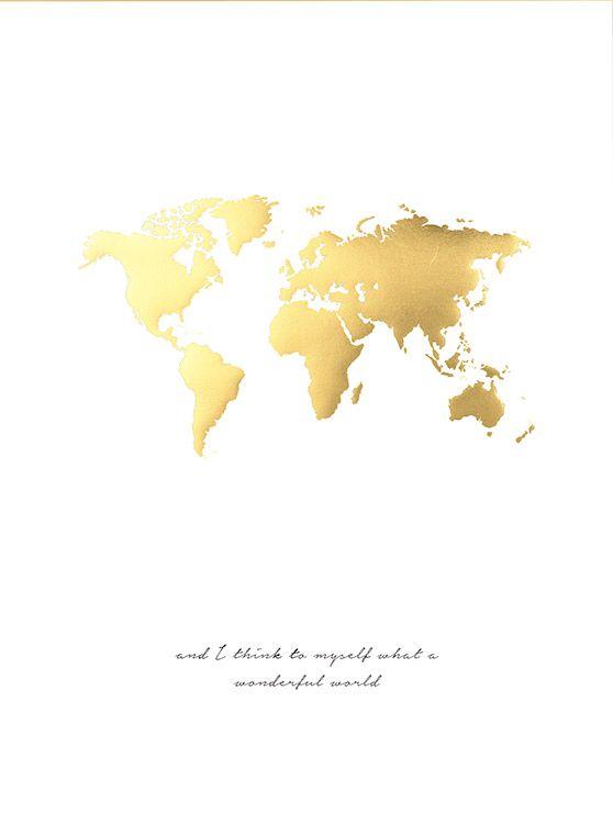 Poster mit Weltkarte, Gold...