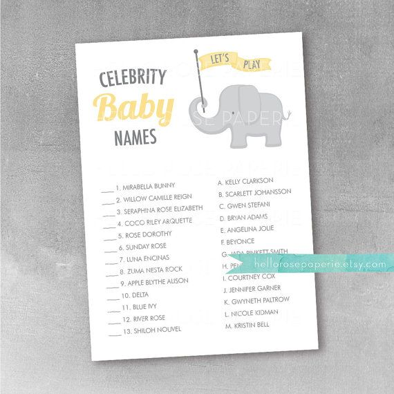 Pink and Gold Baby Shower Game . Celebrity Baby Names Game .