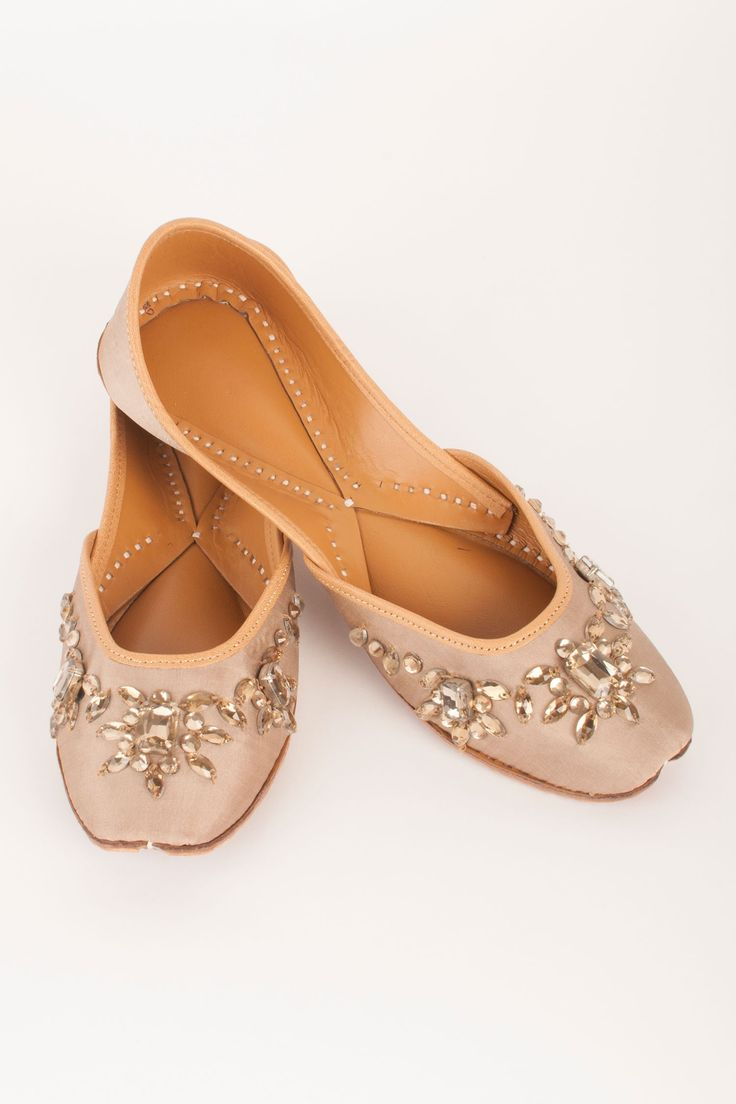 Beige Carmella Juttis By Coral Haze  Shop Now at http://www.onceuponatrunk.com/designers/coral-haze #onceuponatrunk #shopnow #jutti #fashion #style #india #onlineshopping #shopping #footwear #ethnic #accessories #delhi