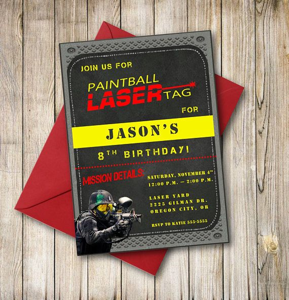 Laser Tag Paintball Birthday Invitation Paintball Laser Tag