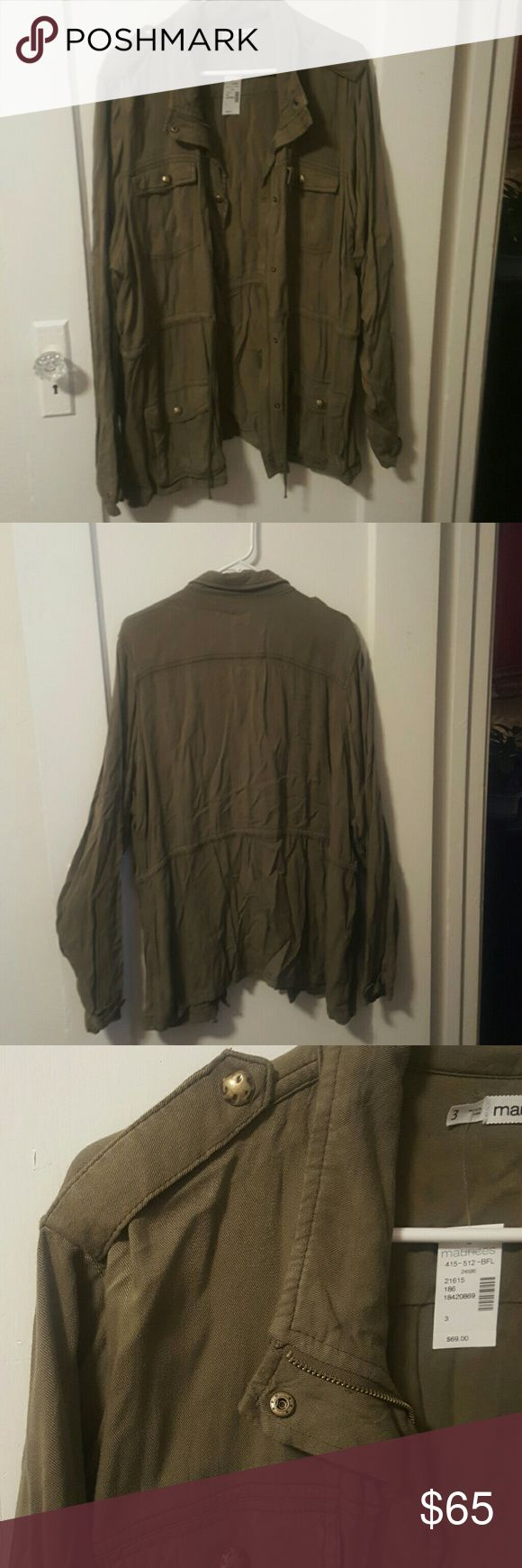 Army green jacket Army green jacket with gold buttons. This jacket is light weight and a perfect add to your fav Jean outfit Maurices Tops Sweatshirts & Hoodies