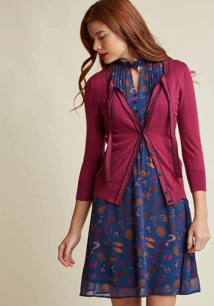 Womens - ModCloth Well aren't you an all-out retro darling in this purple  cardigan from our ModCloth namesake label! Between its navy blue piping, ...
