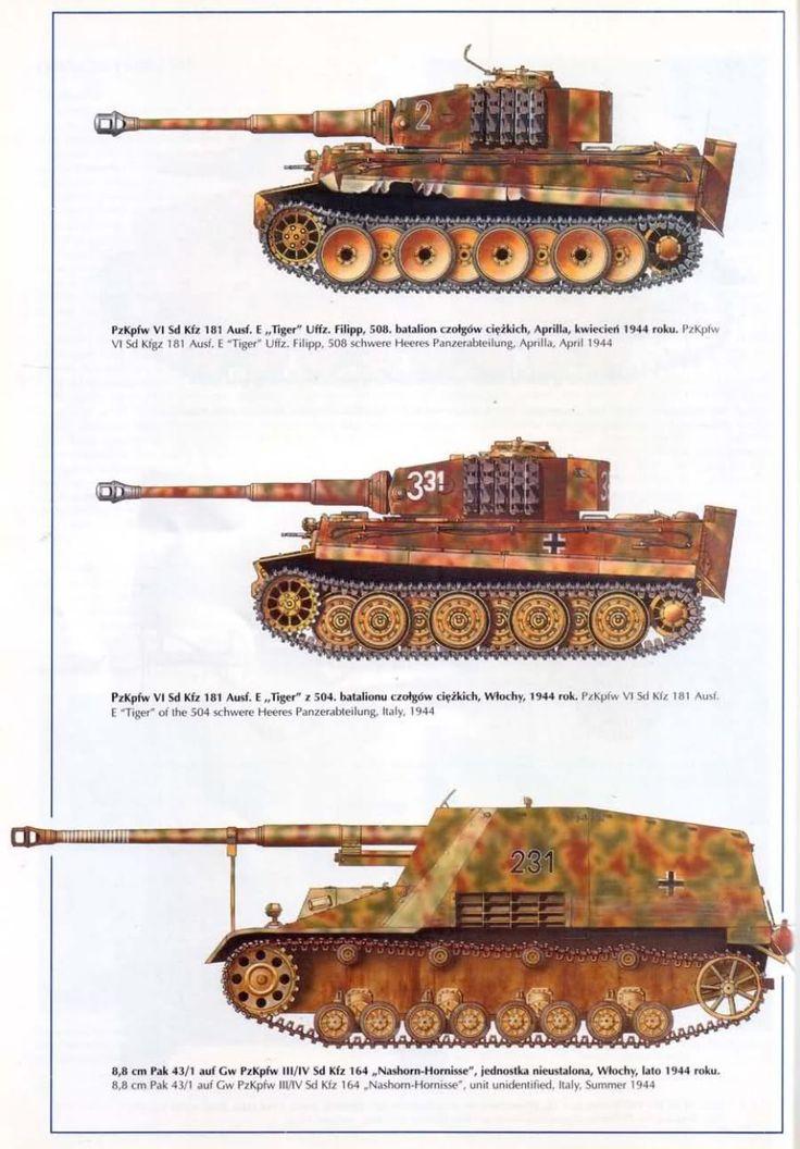 Blindados alemanes en Italia, 1943 (dos carros pesados Tiger 1E y un cazacarros pesado Nashorn)