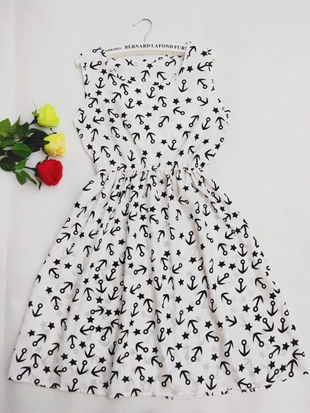 F&H Brand Blue stars 20 Colors Fashion Women New Sleeveless Florals Print Round Neck Dress 2016 Saias Femininas Summer Clothing