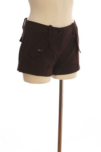 G2 Chic Solid Woven Cuffed Shorts