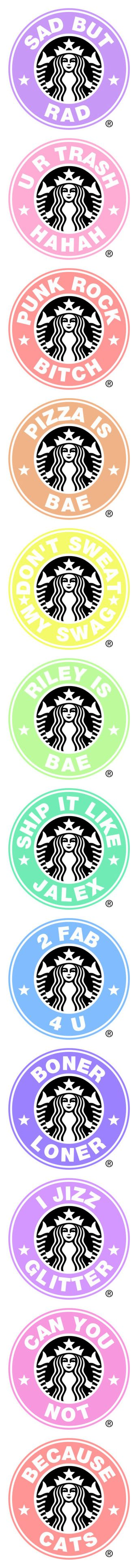 """Fab starbucks logos - Made by Me"" by in-this-darkness-i-see-colors ❤ liked on Polyvore featuring Hipster, tumblr, starbucks, sassy, pastel, filler, text, - fillers, logo and phrase"