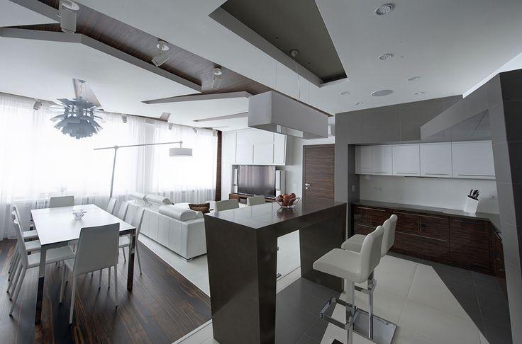 white apartment Dramatic All White Renovated Apartment in Moscow by Vladimir Malashonok