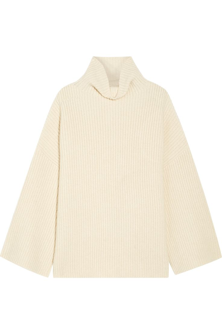 THE ROW Violina oversized ribbed cashmere turtleneck sweater #olsentwins