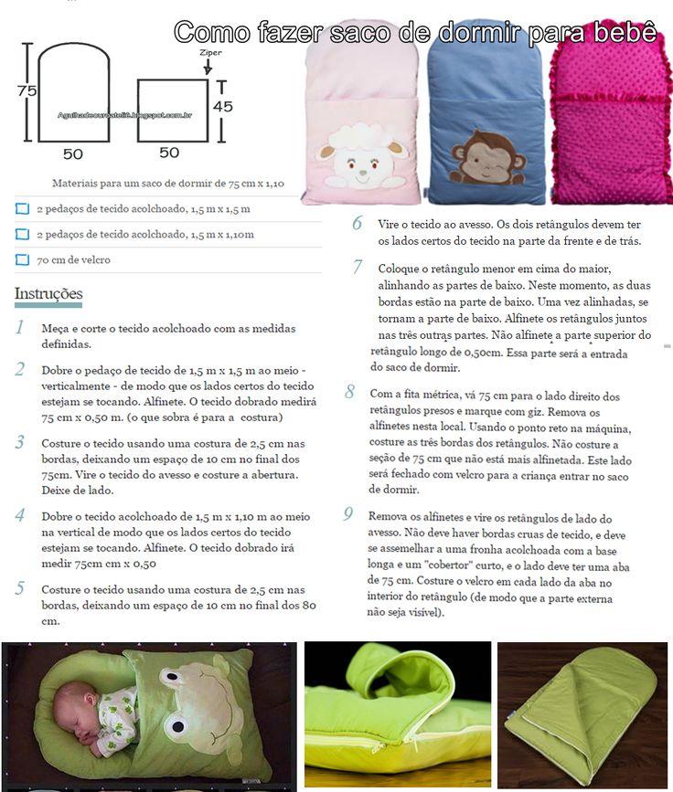 Agulha de ouro Ateliê: Repostando: Passo passo como fazer saco de dormir infantil com as medidas do molde
