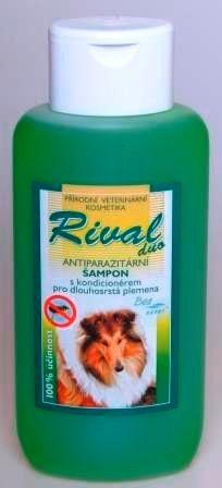 RIVALduo antiparazitní šampón s kondicionerem pro dlouhosrstá zvířátka.Hubí blechy,vši,klíštata(i přisátá)a ostatní parazity.Jako zklidňující složka přidán olej TEA TREE.Účinnost 4 týdny.   Naše cena:143,-Kč  220ml