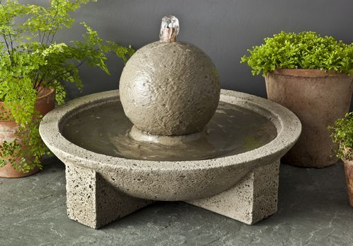 Sphere Cast Stone Table Fountain by Campania