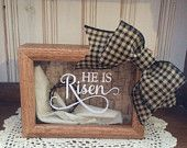 He Is Risen 5 x 7 Wooden Shadow Box with Shroud and Crown of Thorns