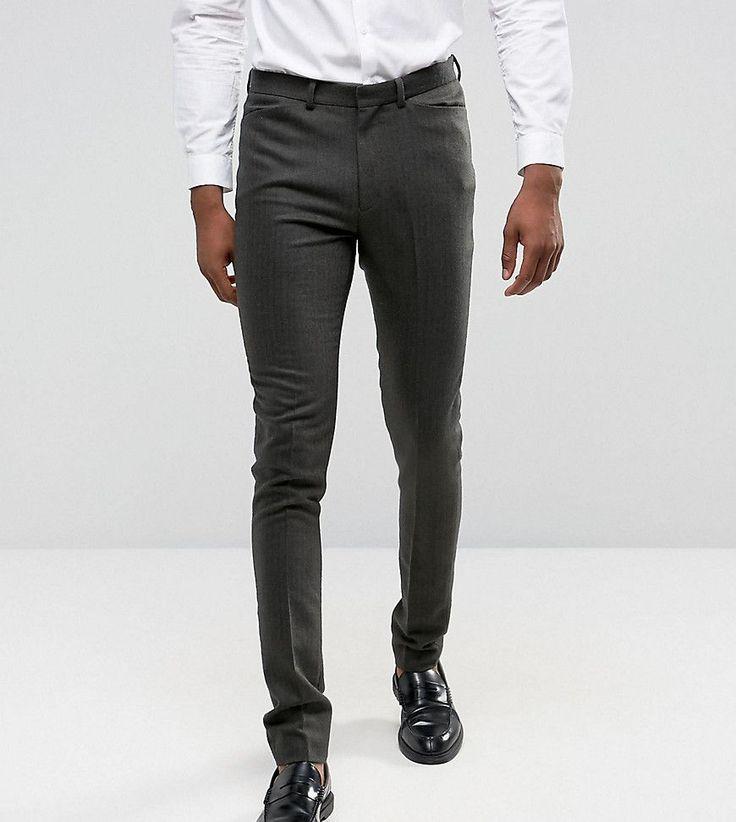 ASOS TALL Skinny Suit Pants In Herringbone Green Wool Blend - Green