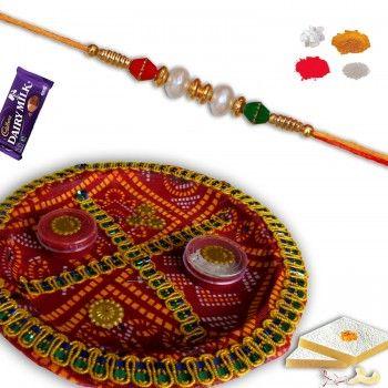 Decorative Rakshabandhan Shagun Thali with Pearl Rakhi @http://www.rakhistoreonline.com/