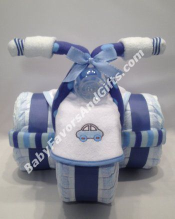 Tricycle Diaper Cake – I have received my order and I like it VERY much. Also, thank you for the option of picking the color and bibs, that was…