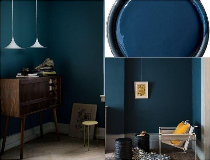 couleur de peinture murale 2015 bleu pétrole et meubles vintage