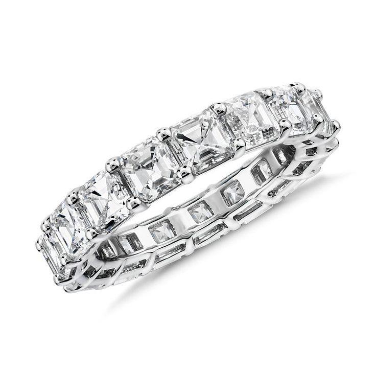 Asscher Cut Diamond Eternity Ring Platinum (6.0 ct. tw.), Platinum Diamond