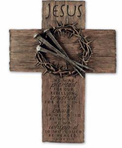 wall of crosses | Jesus Crown of Thorns Cross Wall Hanging