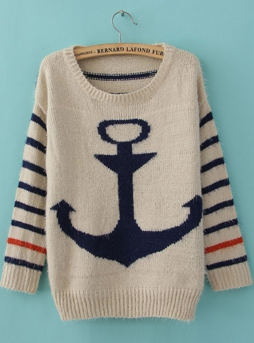 Blue Striped Long Sleeve Anchor Print Mohair Sweater