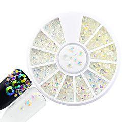 Il rhinestone trasparente del rhinestone di scintillio rotondo del disco di arte di chiodo di modo 1pcs ha reso brillante la bellezza diy