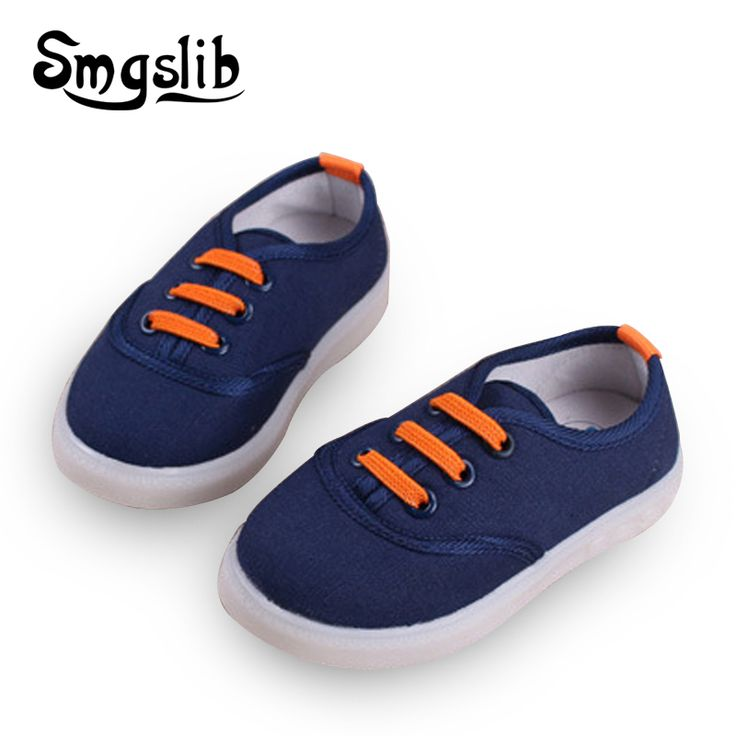 Children Casual Shoes With Led Light up shoes toddler Girls&Boys canvas Sneakers Breathable Led glowing sneakers Lace-up Shoe
