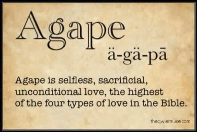 Agapé is Greek and needs a tilda over the e, but I love this. Reminds me of State 2016
