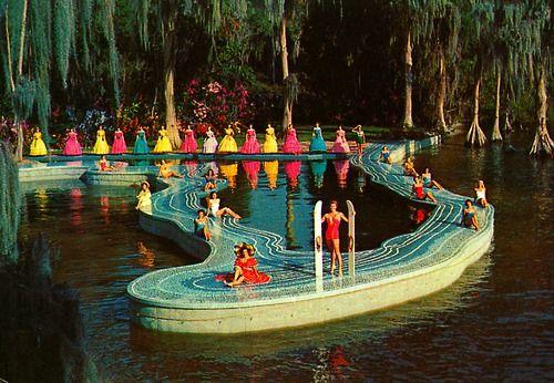 Cypress Gardens, Florida - vintage: Lush Gardens, Ball Gowns, Gardens Florida Funnnn, Gardens Winter, Swampi Backyard, Cypress Gardens, Florida Postcards, Photo, Botanical Gardens
