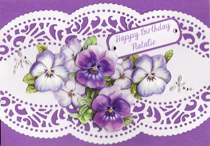 3D pansies 'Happy Birthday Natalie' Card (by Tassie Scrapangel)
