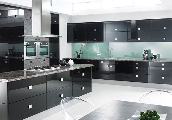 Ultra-modern black kitchen with gloss cabinets
