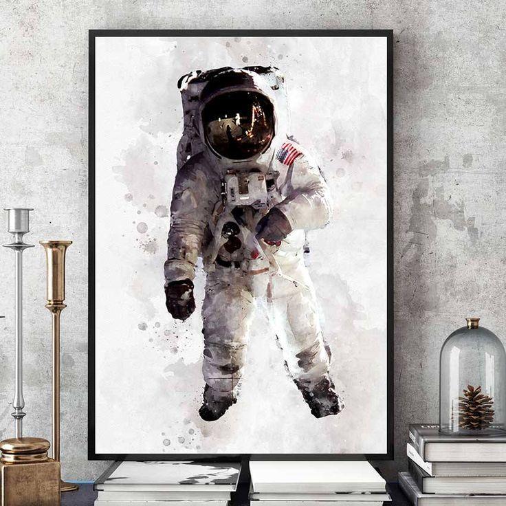 Astronaut Poster, NASA Print, Kids Room Astronaut Wall Art, Nasa Decor, Watercolour Space Art, Nursery Decorations, Giclee Art (N310) by PointDot on Etsy