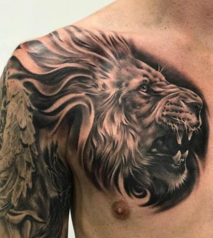 Tatuajes de leones en el pecho