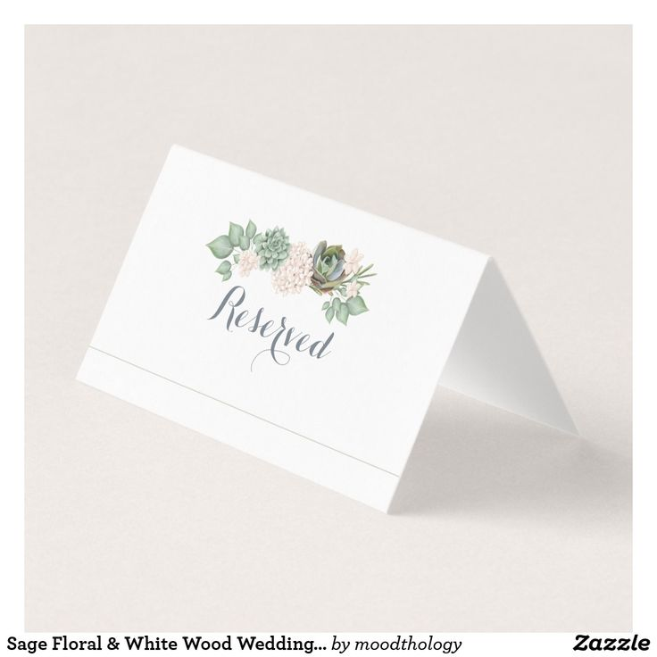 Sage Floral & White Wood Wedding Name Place Card