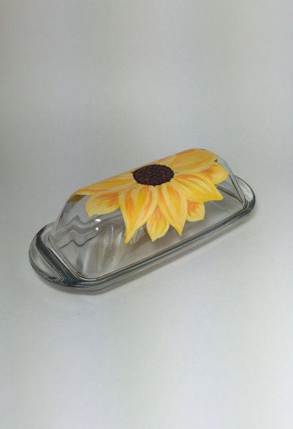 Sunflower Butter Dish Kitchen Glassware by KitchenBarHomeDecor