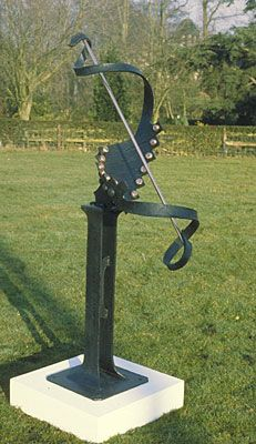 Ribbon Sundial. 1.5 metres high. Forged steel and Copper Sold at Sothebys auction.