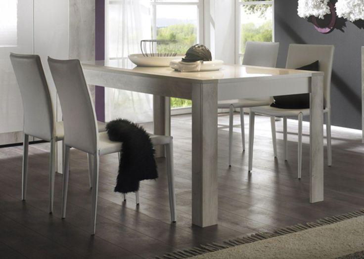 SOON Séjours Tables de repas TABLE DE REPAS PIN BLANCHI/BLANC LAQUE- Basika le Hard Discount du meuble