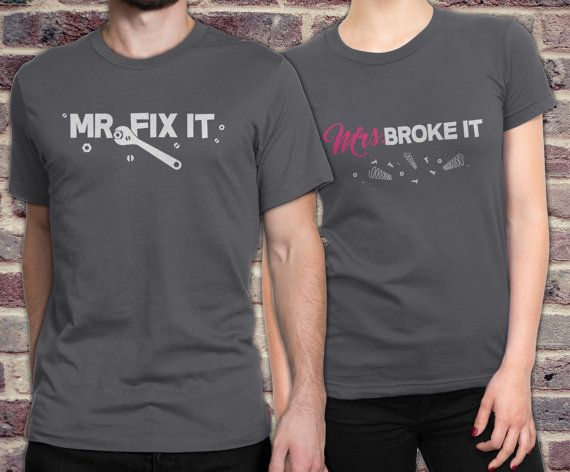 Matching couple shirts Mr. Fix it and Mrs. Broke by KennieBlossoms