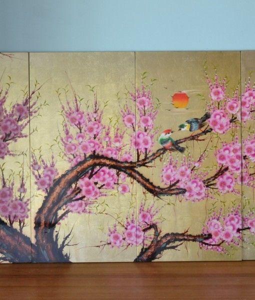 Vintage Japanese laquerware wall hanging artwork